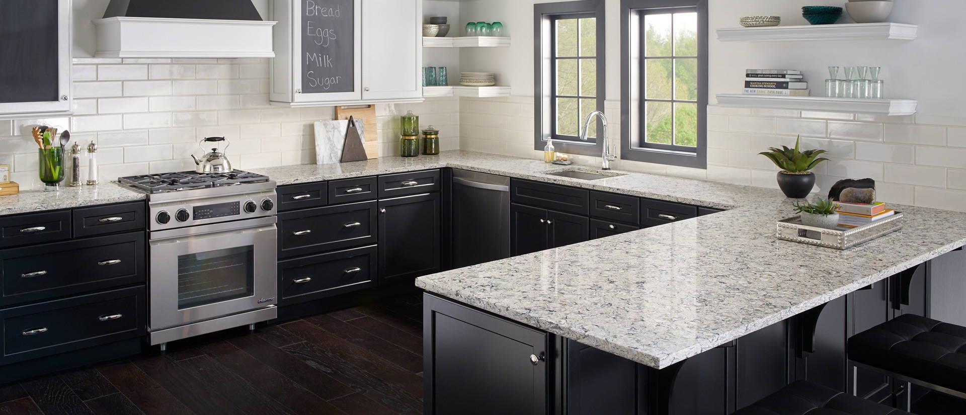 Herringbone Backsplash With Granite Countertop